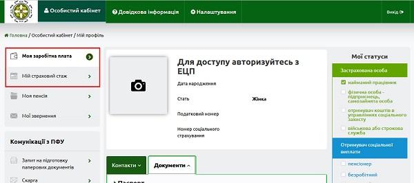 пенсионный фонд интерфейс кабинета